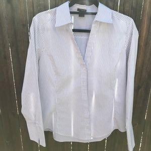 Ann Taylor White Gray Striped Blouse